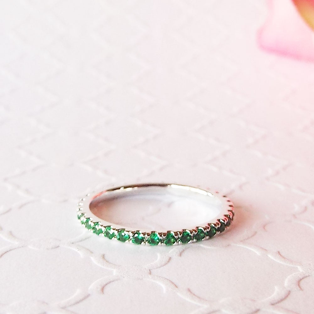 May Birthstone stacking band Emerald cz Green White Gold Plated 1.5 mm Eterntiy band thin pave Ring Green May birthstone stacking ring