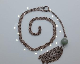 Amazonite & Copper Chain Drop Necklace