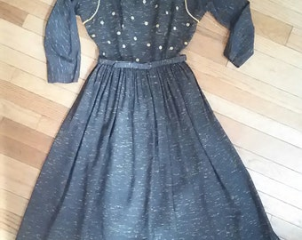 NOS Vintage 50s Day Dress / 1950s Party Dress / 50s Circle Skirt / Rockabilly Pin Up Dress