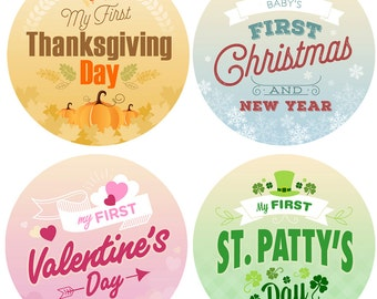 Baby First Holiday Monthly Stickers - Baby Month Retro Holiday Stickers - Milestone - Christmas Easter Thanksgiving St Pattys Valentines
