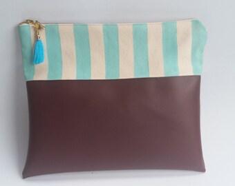 SALE   Vegan Leather Clutch   Handpainted Striped Clutch   Handbag Art   Funky Clutch