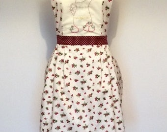 Strawberries and cream embroidered apron