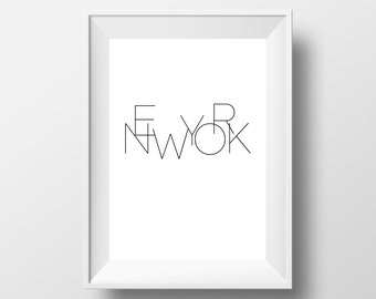 Prints van New York, New York Affiche, reizen Poster, City Art Print, Wall Art, New York City Wall Art, typografie Wall Art, New York City #0015
