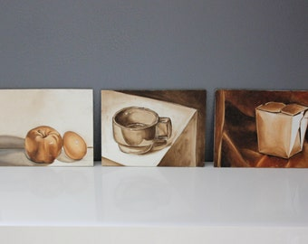 Still Life Trio Kitchen Art Paintings on 6x8 Plywood