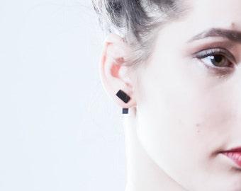 Double Sided Earrings, Ceramic Earrings, Porcelain Jewelry, Mens Earrings, Black Stud Earrings, Minimal Bar Earrings, Porcelain Earrings
