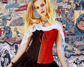 Harley Quinn Corset, cosplay,comic com,dc comic,joker,steampunk,renniassance faire,goth,teen,gift,zippered corsets,woman,costume,halloween