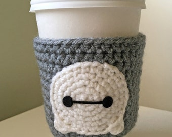 Baymax Tsum Tsum Crochet Coffee Cup Cozy, Big Hero 6 Coffee Sleeve, Disney Coffee Cozy