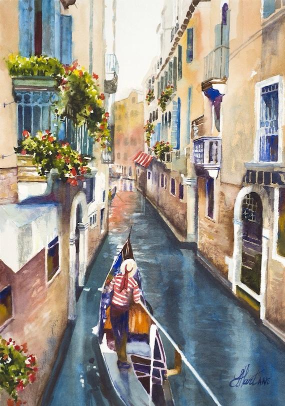Venice Watercolor Painting Italian Art European By
