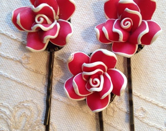 Decorative red flower hair pins, Teenage Girl Gift, Hair Accesories, Red Christmas Hair pins, teenage girl gift, hair pins flower,