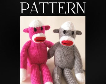 Knitting PATTERN  Sock Monkey - Instant Download