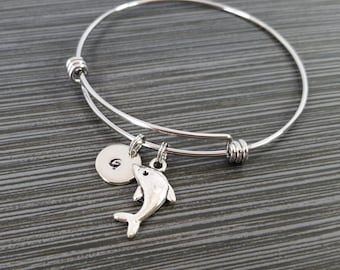 Dolphin Bangle - Dolphin Charm Bracelet - Expandable Bangle - Charm Bangle - Dolphin Bracelet- Best Friend Bracelet - Porpoise Bracelet