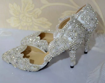 Custom Wedding Shoes -Handmade Crystal Embellished Shoe, Bridal Shoe, Prom shoe, Lace shoe.