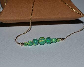 OPAL NECKLACE // Dot Necklace Opal - Opal Ball Necklace - Opal Bar Necklace - Kiwi Opal Bead Necklace - Opal Charm Necklace