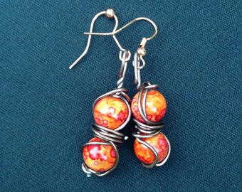 Red Bead and Bronze Wire Dangle
