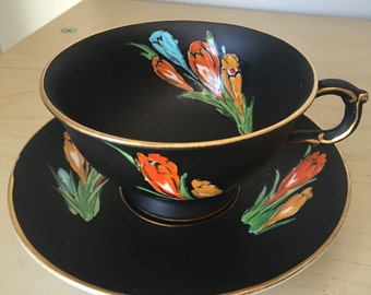 Atlas China Matte Black Vintage Teacup and Saucer, Red Orange Yellow Blue Crocus Flower Tea Cup and Saucer, English Grimwades Stoke On Trent