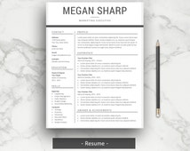 unique resume template related items   etsyprofessional resume template   cv template for word   cover letter   simple resume template