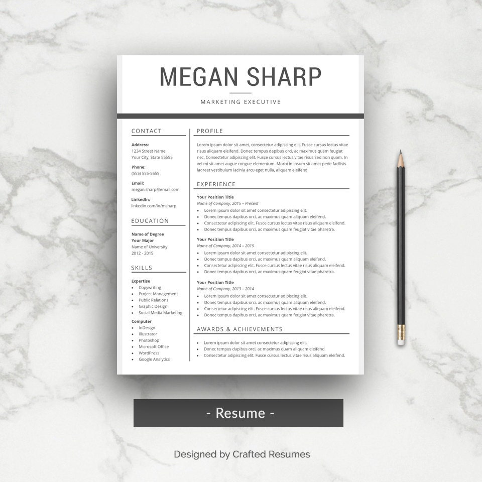 Professional Cv Resume Templates: Professional Resume Template CV Template For Word With Cover