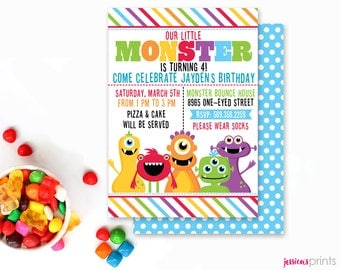 Monster Mongrels Party Printable Invitation, Custom Monster Party Invitation, Printable Monster Birthday Party Invitation, Fun Monster Party