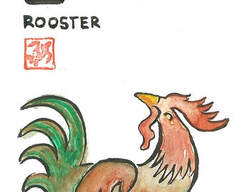 Chinese Zodiac Rooster Original Watercolor & Ink Painting