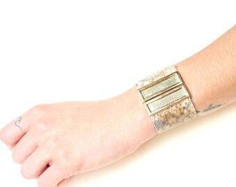 Snake Pattern Leather Bracelet, Summer Beach Look, Festival accessories, Boho Style