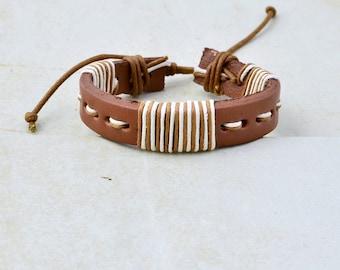 leather bracelet • men women • striped brown cream