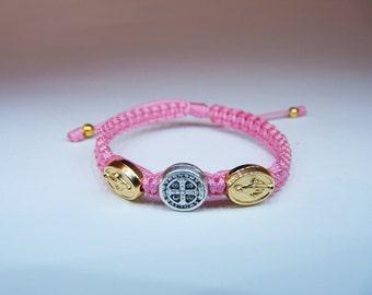 Silver St. Benedict - gold Miraculous medal bracelet