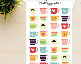 Cute Coffee Mugs Planner Stickers | Tea Mugs | Hot Chocolate | Coffee Time | Tea Time (S-109)