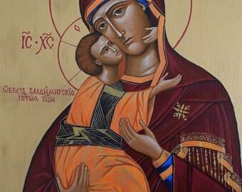 Custom Eastern Orthodox Icon Painting. Theotokos of Vladimir (Our Lady of Vladimir)