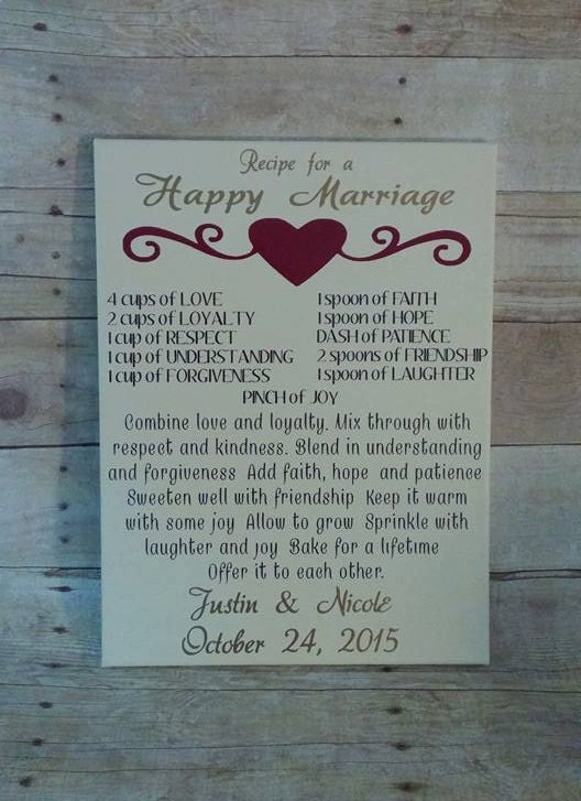 285 75 16 >> Recipe For A Happy Marriage 12x16 canvas