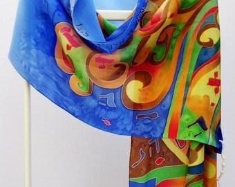 Silk crepe de chine hand-painted tallit