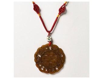 Amber Jade Pendant Silk Cord Pendant Necklace
