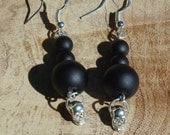 Black Onyx Earrings ~ Silver Skull Dangle Earrings ~ Halloween Jewellery ~ Whimsical ~ Semi Precious Stones ~ Gothic Style ~ Stone Jewelry