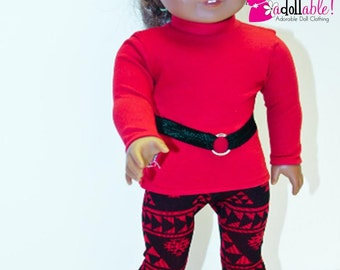 American made Girl Doll Clothes, 18 inch Girl Doll Clothing, Red Top, Aztec Inspired Leggings made to fit like American girl doll clothes