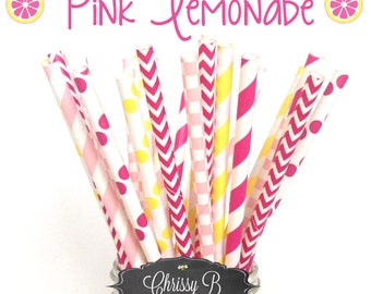 Pink and Yellow Paper Straws (PINK LEMONADE Theme) Pack of 25 Straws  - Light Pink, Hot Pink, Yellow - Birthday Party, Baby Shower