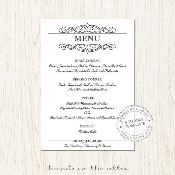 elegant wedding menu template editable wedding by handsintheattic. Black Bedroom Furniture Sets. Home Design Ideas