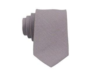 Dove Grey Linen Ties.Grey Skinny Tie. Mens Wedding Tie.Gift For Men