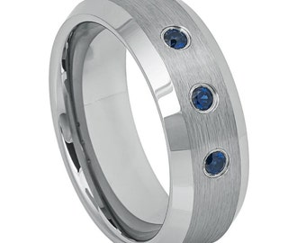 8mm Tungsten Carbide Ring With Three Blue Sapphire Diamonds