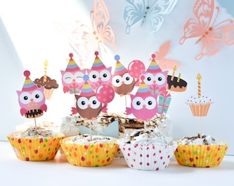 12 Owl Birthday Party Supplies, Owl Cake Decoration, Owl Cake Toppers, Owl Birthday Party, Owl Cake Topper, Owl Cut-Out Tags