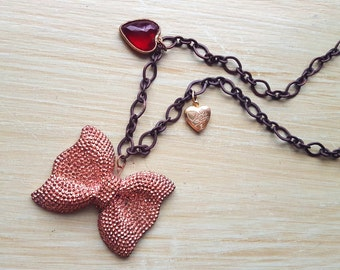 Large Bow Statement Necklace - Charm Necklace - Heart Necklace