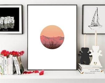 Circle Mountain Sunset Print, Sunset Print, Sunset Print, Minimalistic Print, Landscape Print, Sunset Photo Print, Mountain Circle Photo