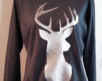 Women's Sweater with deer print grey Sweater with antler christmas sweater S M L XL XXL grey silver
