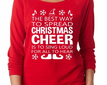 Christmas Cheer Buddy the Elf Raglan 3/4 Sleeve Shirt American