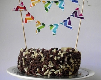Rainbow Chevron Fabric Cake Topper Bunting perfect for any Party.