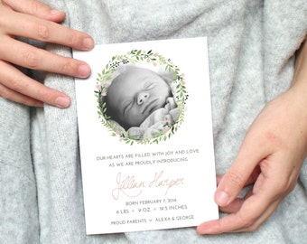 Printable Birth Announcement Card / Birth Announcement Template / 5 x 7 Card  Baby Photo Card / New Born Card Birthday Card Digital