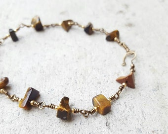 Tigereye gemstone wire wrapped anklet or bracelet, gemstone anklet, tigereye anklet, gold seed bead bracelet anklet, tigereye bracelet