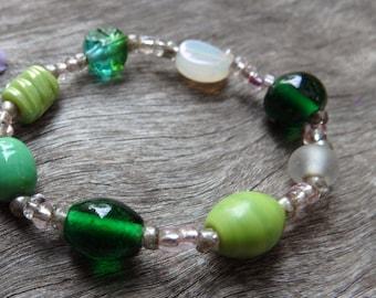 Glass Lamp-work Beaded Bracelet - Mother's Day, Beaded Bracelet, Beaded, Bracelet, Beads, Glass Beads, Lampwork, Women, DominiquesWares