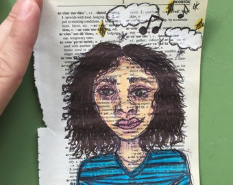 Day Dreaming Girl on Dictionary Paper - Original Drawing