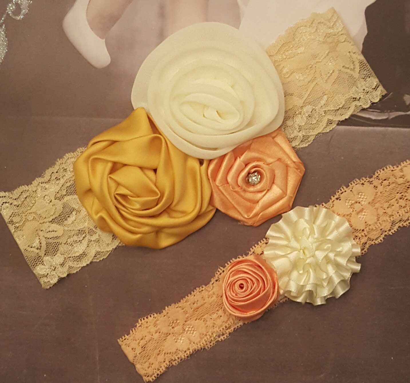 Golden Yellow Peach And Ivory Wedding Garter SetIvory
