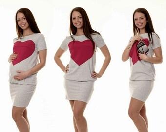 3-in-1 maternity nursing dress heart maternity dress maternity dress