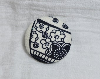 Navy and White Fabric Brooch  - Covered Button Pin - Fashion Accessory